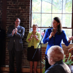 Alison Lundergan Grimes delivers her keynote address during her campaign party at Churchill's in Berea, KY